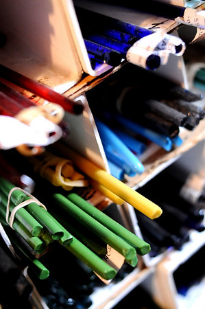 GLASSBLOWER06<br /> Pieces of glass await use in the studio of Miko Scott, owner of Diablo Glass, at his studio near Nederland.<br /> <br /> Photo by Marty Caivano/Camera/Dec. 30, 2009