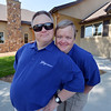 Mark Hembd, left, and his twin brother Mike, 43, pose in front of their new home, the Glory Community, a private nonprofit, residential home for adults with intellectual disabilities. The Hembd's will be living in the house starting October 1st with six other residents.<br /> September 21, 2012<br /> staff photo/ David R. Jennings