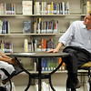Westlake Middle School eighth grader Eyoatam Mengist, left, interviews US Senator Michael Bennet in the school library.<br /> <br /> August 21, 2009<br /> staff photo/David R. Jennings