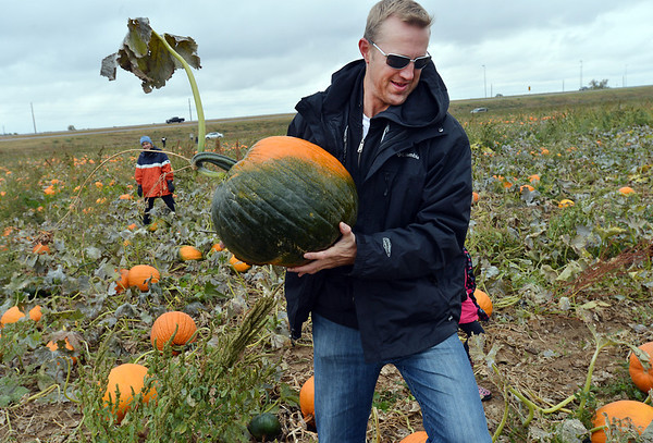 Adam George carries a pumpkin his family picked out from a field at the Rock Creek Farm on Saturday.<br /> October 6, 2012<br /> staff photo/ David R. Jennings