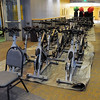 Exercise equipment is stored in the hall to be cleaned during the deep cleaning of the Paul Derda Recreation Center on Wednesday.<br /> <br /> August 24, 2011<br /> staff photo/ David R. Jennings
