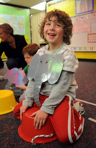 Carson Wagner is all smiles as an elephant during the deaf and hard of hearing preschool/kindergarten's Pee Wee Circus at Mountain View Elementary School on Friday.   March 18, 2010 Staff photo/David R. Jennings