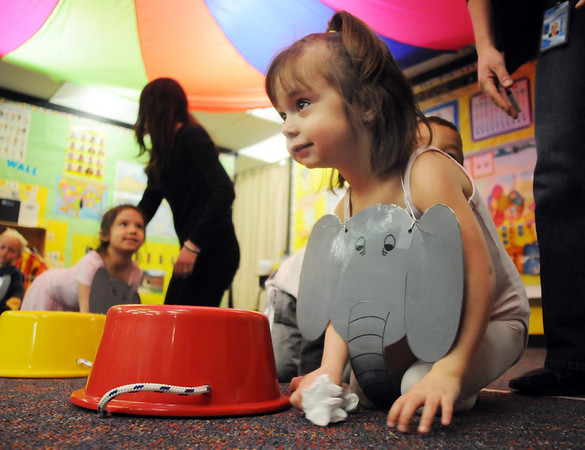 Josie Vondra-Smith waits to perform her elephant act during the Pee Wee Circus at Mountain View Elementary School on Friday. <br /> <br /> <br /> March 18, 2010<br /> Staff photo/David R. Jennings