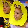 Ivan Arridga-Rodgriguez, left, and Alyssa Moulin, dressed as lions,  arrive riding wagons for the Pee Wee Circus at Mountain View Elementary School on Friday. <br /> <br /> March 18, 2010<br /> Staff photo/David R. Jennings