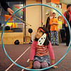 "Ramona Allen-Bruno, dressed as a dog, waits for encouragment from the crowd  and her ""trainer"" teacher Jeannene Evenstad, to jump through the hoop during Pee Wee Circus at Mountain View Elementary School on Friday. <br /> <br /> March 18, 2010<br /> Staff photo/David R. Jennings"