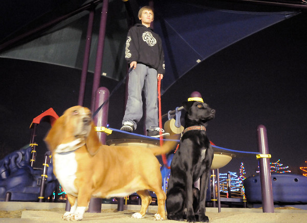 """Alessadro Lauria, 11,  stands on playground equipment with dogs Cedar, left, and Lucy while listening to the pet remembrance ceremony on Friday at the Girl Scout Shelter in Midway Park in Broomfield.<br /> <br /> More photos please see  <a href=""""http://www.broomfieldenterprise.com"""">http://www.broomfieldenterprise.com</a><br /> December 30, 2011<br /> staff photo/ David R. Jennings"""