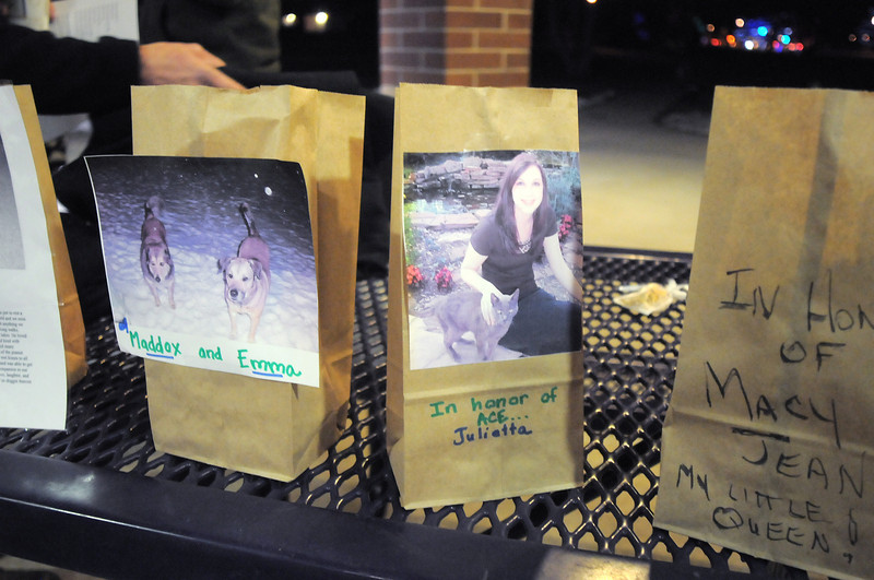 "Luminarias honoring the memory of pets during the pet remembrance ceremony on Friday at the Girl Scout Shelter in Midway Park in Broomfield.<br /> <br /> More photos please see  <a href=""http://www.broomfieldenterprise.com"">http://www.broomfieldenterprise.com</a><br /> December 30, 2011<br /> staff photo/ David R. Jennings"