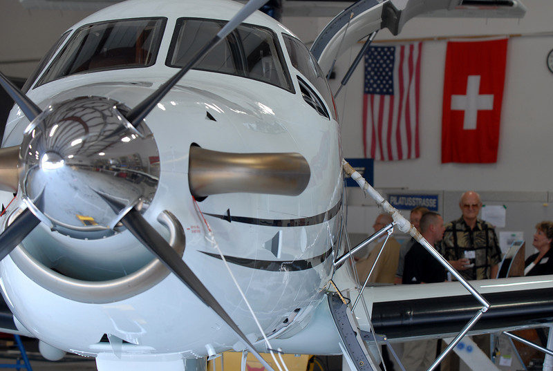 A Pilatus PC-12 NG sits in a hanger being finished for a customer during a tour of the facilities before the celebration of the 1000th PC-12 NG aircraft at Pilatus Aircraft's western hemisphere headquarters based at Rocky Mountain Metropolitan Airport in Broomfield on Thursday.<br /> July 15, 2010<br /> Staff photo/ David R. Jennings