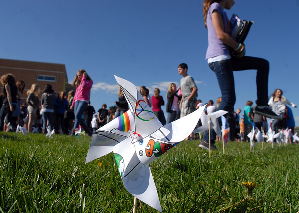 A pinwheel planted by eighth graders at Aspen Creek K-8 school for the Pinwheels for Peace project on Wednesday at the school. Students from all grades planted pinwheels in the shape of peace signs.<br /> September 21, 2011<br /> staff photo/ David R. Jennings