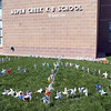 Aspen Creek K-8 school students planted pinwheels in the shape of a peace sign for the Pinwheels for Peace project on Wednesday.<br /> September 21, 2011<br /> staff photo/ David R. Jennings