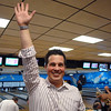 Broomfeild Police officer Mike Deedon celebrates after making a strike during the Police vs. Fire Bowling Tournament for A Precious Child at Chippers Lanes Bowling Alley on Sunday.<br /> April 10, 2011<br /> staff photo/David R. Jennings