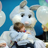 Aaron Lazio, 2, gets a hug from the Easter Bunny during the Preschool Easter Party at the Broomfield Community Center on Thursday.<br /> April 5, 2012 <br /> staff photo/ David R. Jennings