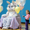 Sadea Insley, 3, shows her parents Flopsy the Bunny during the Preschool Easter Party at the Broomfield Community Center on Thursday.<br /> April 1, 2010<br /> Staff photo/David R. Jennings