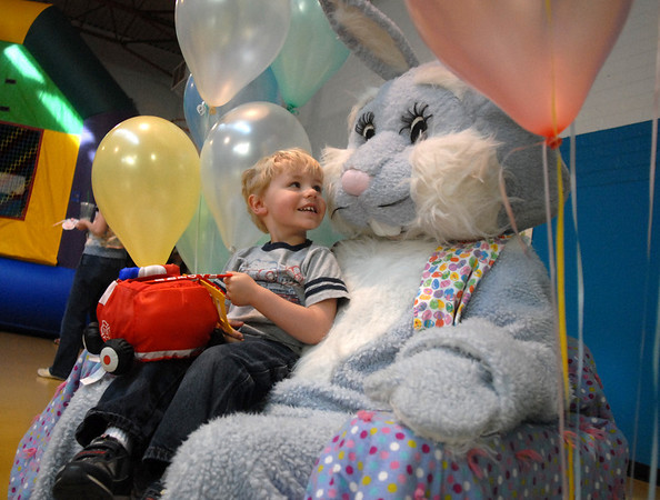 Owen Hayden, 3, looks a Flopsy the Bunny during the Preschool <br /> Easter Party at the Broomfield Community Center on Thursday.<br /> April 1, 2010<br /> Staff photo/David R. Jennings