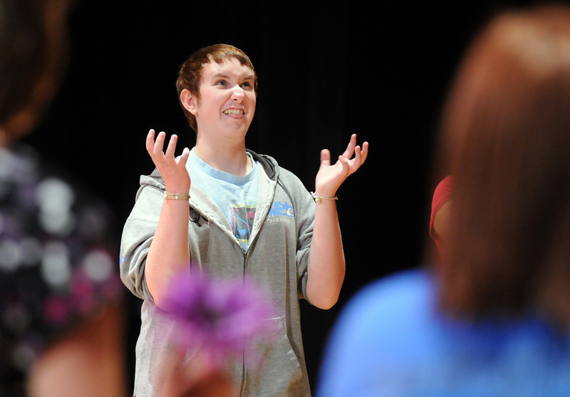 BE0708YOUTH01<br /> Beau Clayton, 17, reacts to a line during practice for the Summer Youth Players production of The Princess and the Pea at the Audi on Thursday.<br /> <br /> July 2, 2010<br /> Staff photo/ David R. Jennings