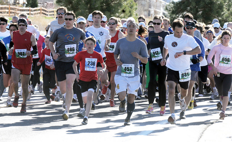 Runners begin the 5K run during the Frank Shorter Race 4 Kid's Health a Broomfield Rotary fundraiser for Healthy Learning Paths at the Broomfield County Commons on Sunday.<br /> April 10, 2011<br /> staff photo/David R. Jennings