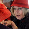 Sarah LaMothe chats while having lunch at the meeting of the Red Hat Society's chapter the Red Hat Showoffs at the Rustic Ranch.<br /> <br /> November 12, 2009<br /> Staff photo/David R. Jennings