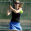 Longmont's Olivia Lance returns the ball during the #2 doubles match with teammate Kayla Perarer against Broomfield's Marisa Eafanti and Michele Midanier during the 4A region 5 playoffs at the Broomfield Swim and Tennis Club on Thursday.<br /> <br /> May 03, 2012 <br /> staff photo/ David R. Jennings