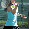 Centaurus' Glenna Gee-Taylor returns the ball to Skyline's Lisa Hug in  the # 1 singles match during the 4A region 5 playoffs at the Broomfield Swim and Tennis Club on Thursday.<br /> <br /> May 03, 2012 <br /> staff photo/ David R. Jennings