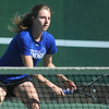 Broomfield's Shivaun Wood returns the ball during the #1 doubles match with teammate Monro Obenauer against Thompson Valley's Emily Erickson and Samantha Sheets during the 4A region 5 playoffs at the Broomfield Swim and Tennis Club on Thursday.<br /> <br /> May 03, 2012 <br /> staff photo/ David R. Jennings