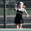 Thompson Valley's Hannah Gregory returns the ball to Broomfield's Katie Christman during the # 2 singles match during the 4A region 5 playoffs at the Broomfield Swim and Tennis Club on Thursday.<br /> <br /> May 03, 2012 <br /> staff photo/ David R. Jennings