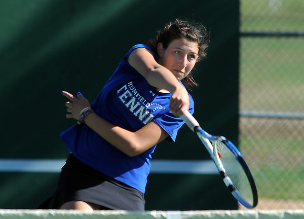 Broomfield's Marisa Eafanti returns the ball during the #2 doubles match with teammate Michele Midanier against Longmont's Olivia Lance and Kayla Perarer during the 4A region 5 playoffs at the Broomfield Swim and Tennis Club on Thursday.<br /> May 03, 2012 <br /> staff photo/ David R. Jennings