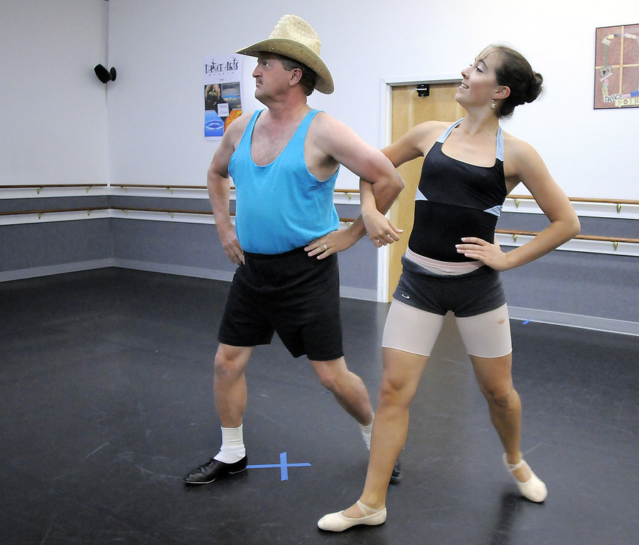 Randy Ahrens and Sophie Payannet during rehearsal for their dance which mixes country and ballet for Dancing with the Broomfield Stars at Dance Arts Studio.<br /> <br /> <br /> August 15, 2011<br /> staff photo/ David R. Jennings