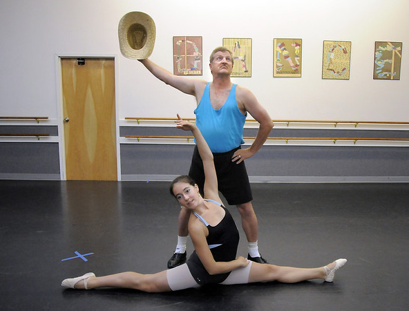 Randy Ahrens and Sophie Payannet during rehearsal for their dance which mixes country and ballet for Dancing with the Broomfield Stars at Dance Arts Studio.<br /> August 15, 2011<br /> staff photo/ David R. Jennings