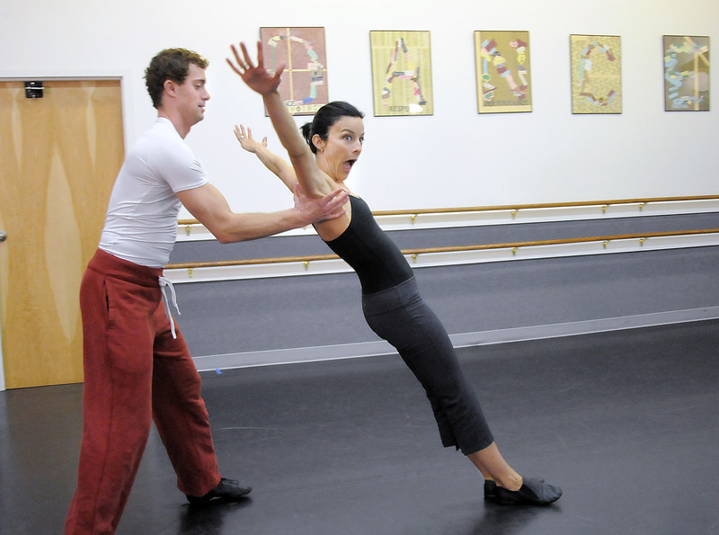 Heather Drake and Collin Eckhoff rehearse their performance of a Solid Gold 80's Jazz Disco dance for Dancing with the Broomfield Stars at Dance Arts Studio.<br /> <br /> August 15, 2011<br /> staff photo/ David R. Jennings
