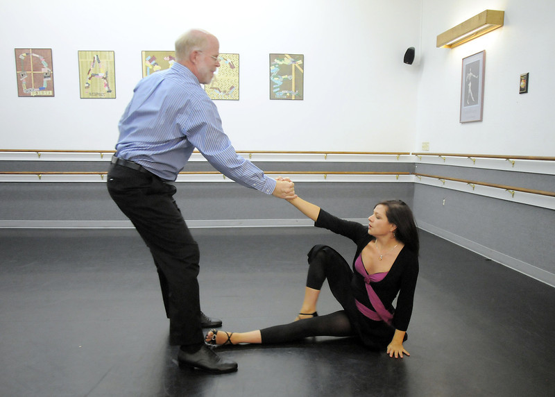 Ed Black and Courtney Duran perform the Fox Trot dance<br /> during rehearsal for Dancing with the Broomfield Stars at Dance Arts Studio.<br /> August 15, 2011<br /> staff photo/ David R. Jennings