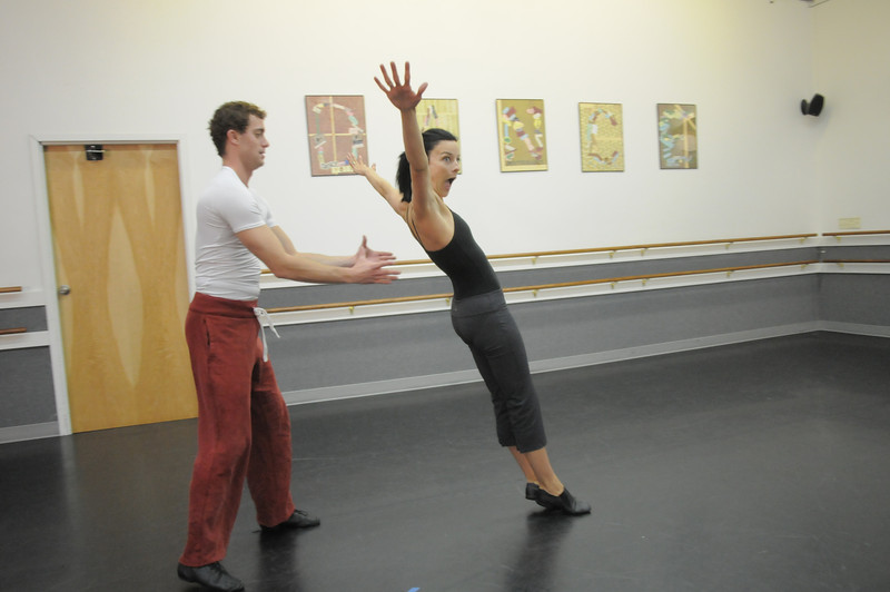 Heather Drake and Collin Eckhoff rehearse their performance of a Solid Gold 80's Jazz Disco dance for Dancing with the Broomfield Stars at Dance Arts Studio.<br /> <br /> <br /> August 15, 2011<br /> staff photo/ David R. Jennings