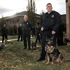 K-9 officers from different agencies stand with their dogs during the retirement ceremony of Broomfield Police officer Jason Collins and his K-9 dog Nik at police headquarters on Wednesday.<br /> <br /> December 1, 2010<br /> staff photo/David R. Jennings
