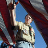Boy Scout Stuart Shirley, 14, with Troop 5,  cuts the strips from a flag during the 2010 Flag Retirement Ceremony at North Metro Fire Station 61 on Monday, Flag Day.  North Metro Fire Rescue and the Broomfield Veteran's Memorial Museum sponsored the Flag Day event.<br /> <br /> June 14, 2010<br /> Staff photo/ David R. Jennings