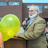 John Ortner talks about retiring Broomfield Heights Middle School science teacher Robert Croft during the Robert Croft Day celebration at the school on Friday.  <br /> May 20, 2011<br /> staff photo/David R. Jennings