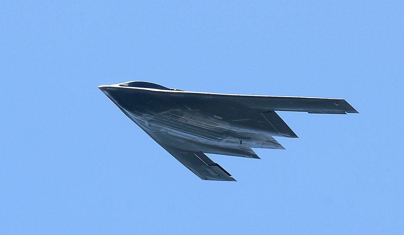 A U.S. Air Force B-2 bomber flies over the airport during Saturday's Rocky Mountain Airshow at Rocky Mountain Metropolitan Airport.<br /> August 27, 2011<br /> staff photo/ David R. Jennings