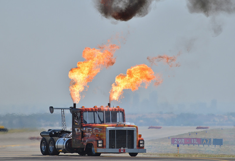The Rocketbilly jet truck prepares for it's performance during Saturday's Rocky Mountain Airshow 2012 at Rocky Mountain Metropolitan Airport. <br /> <br /> August 26, 2012<br /> staff photo/ David R. Jennings