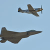 U.S. Air Force F-22 Raptor flies with a World War II era P-51 Mustang for the heritage flight during Saturday's Rocky Mountain Airshow 2012 at Rocky Mountain Metropolitan Airport. <br /> August 26, 2012<br /> staff photo/ David R. Jennings