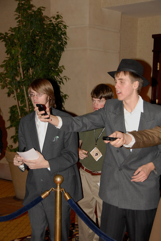 "Paparazzi (Zach Ortner, Michael Lund and Shane Black from Broomfield High's Drama Club) shout questions at ""Stars"" attending Odyssey 2010."