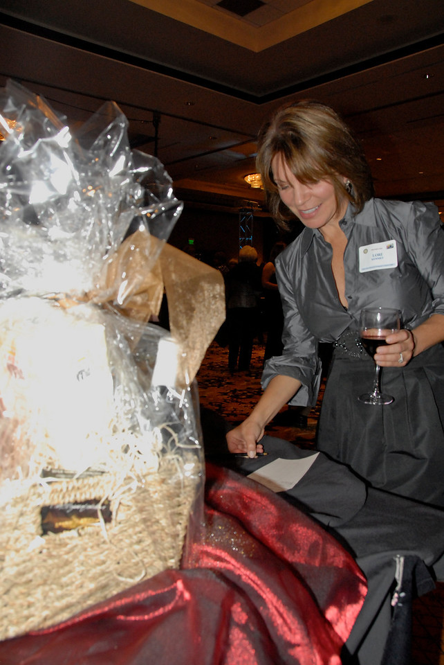 Lori Kemmet, from Incredible Smiles and a board member for A Precious Child, looks over silent auction items.