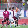 S1019SOCCER7<br /> Broomfield's #15, Connor Metzger watches as his shot slips by Silver Creek's goalkeeper#2, Greg Nissen to score during their game at Broomfield High School on Tuesday evening, October 18th, 2012.<br /> <br /> Photo by: Jonathan Castner