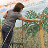 Judy Witt paints trees on a mural for Broomfield High School's Just After Midnight after prom event in the JAM Shed at Broomfield High on Saturday.<br /> January 26, 2013<br /> staff photo/ David R. Jennings