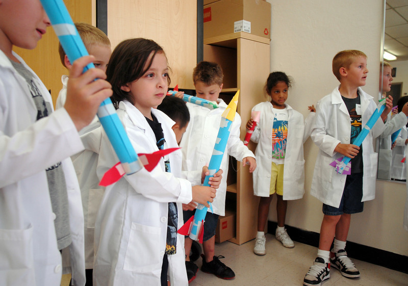 First grades wait to launch their rockets during class on the first day of the STEM (science, technology, engineering and math) lab school for Adams 12 Five Star School District in Northglenn on Wednesday.<br /> August 18, 2010<br /> staff photo/David R. Jennings