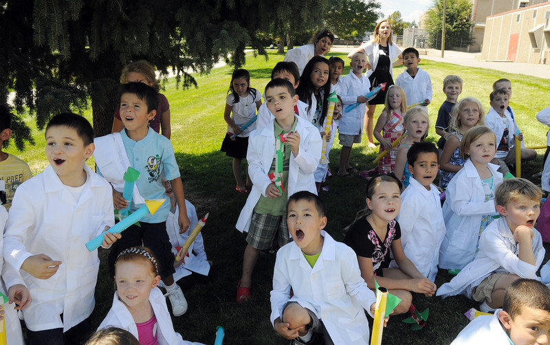 Second graders watch a rocket launched during class on the first day of the STEM (science, technology, engineering and math) lab school for Adams 12 Five Star School District in Northglenn on Wednesday.<br /> August 18, 2010<br /> staff photo/David R. Jennings