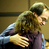 Robert Marcum (back), father of Jennifer Marcum, comforts Mary Willis (front), mother of Jennifer Marcum, after she gave a statement during Scott Kimball's sentencing hearing at the Boulder County Justice Center in Boulder Colorado October 8, 2009.  Kimball has been linked to four suspected murders, including that of his uncle and his ex-wife's daughter,was charged Tuesday with two counts of second-degree murder. CAMERA/Mark Leffingwell