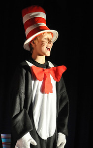 Kevin Ness, Cat in the Hat,  performs during the Thursday performance of Seussical by the Coyote Ridge Elementary School drama club. April 15, 2010 Staff photo/David R. Jennings