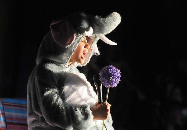 Haleigh Falconer, Horton the Elephant,  performs a song during the Coyote Ridge Elementary School drama club presentation of Seussical.<br /> <br /> April 15, 2010<br /> Staff photo/David R. Jennings