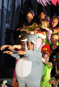 The cast of 4th and 5th graders performs a song during the Thursday performance of Seussical by the Coyote Ridge Elementary School drama club. April 15, 2010 Staff photo/David R. Jennings