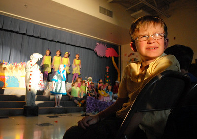 Second grader Ty Mercer looks at the spot light during the Thursday performance of Seussical by the Coyote Ridge Elementary School drama club.  April 15, 2010 Staff photo/David R. Jennings