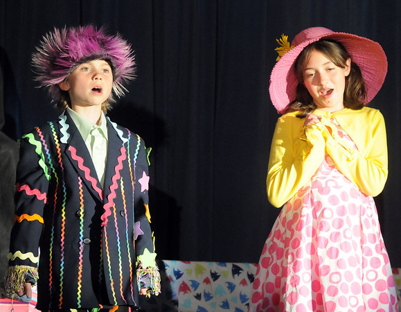 Mr. and Mrs. Mayor of Whoville, Nate Sage, left, and Ashleigh Salazar, sing a duet during Thursday's performance of Seussical by the Coyote Ridge Elementary School drama club.<br /> <br /> April 15, 2010<br /> Staff photo/David R. Jennings