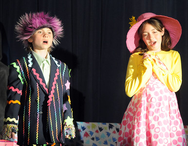 Mr. and Mrs. Mayor of Whoville, Nate Sage, left, and Ashleigh Salazar, sing a duet during Thursday's performance of Seussical by the Coyote Ridge Elementary School drama club.  April 15, 2010 Staff photo/David R. Jennings